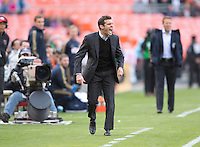 D.C. United head coach Ben Olsen yells to his players during the game at the RFK Stadium in Washington DC.  Philadelphia defeated D.C. United, 3-2.