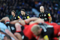 Charlie Hodgson of Saracens watches a scrum. Aviva Premiership match, between Saracens and Worcester Warriors on November 28, 2015 at Twickenham Stadium in London, England. Photo by: Patrick Khachfe / JMP