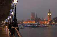 Big Ben and Palace of Westminster, 1858, clock tower of Palace of Westminster or Houses of Parliament, London, UK, 1840-60, by Sir Charles Barry and Augustus Pugin, seen from South Bank Millenium Bridge Pier. Picture by Manuel Cohen