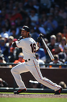 SAN FRANCISCO, CA - OCTOBER 2:  Angel Pagan #16 of the San Francisco Giants bats against the Los Angeles Dodgers during the game at AT&T Park on Sunday, October 2, 2016 in San Francisco, California. Photo by Brad Mangin