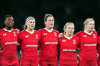 Canada players sing the national anthem prior to the match. Old Mutual Wealth Series International match between England Women and Canada Women on November 26, 2016 at Twickenham Stadium in London, England. Photo by: Patrick Khachfe / Onside Images