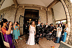 Wedding bubble reception for newly weds after their ceremony at Reid Castle, Manhattanville College