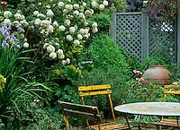 A raised shrub bed runs along the garden boundary while a Shaker-blue trellis divides the garden into separate 'rooms'