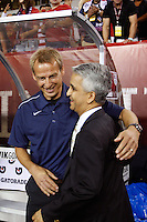 United States Soccer Federation President Sunil Gulati greets head coach Jurgen Klinsmann before the match. The men's national teams of the United States (USA) and Mexico (MEX) played to a 1-1 tie during an international friendly at Lincoln Financial Field in Philadelphia, PA, on August 10, 2011.