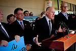 Gov. Jerry Brown speaks at a press conference before delivering petitions for his initiative to temporarily raise income taxes on high earners and increase sales taxes for four years in Sacramento, Calif., May 10, 2012.