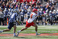 College Park, MD - April 8, 2017: Maryland Terrapins Nick Brozowski (24) grabs the ball out the air during game between Penn State and Maryland at  Capital One Field at Maryland Stadium in College Park, MD.  (Photo by Elliott Brown/Media Images International)