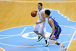 07 March 2015: North Carolina's Luke Davis (4) and Duke's Tyus Jones (5). The University of North Carolina Tar Heels played the Duke University Blue Devils in an NCAA Division I Men's basketball game at the Dean E. Smith Center in Chapel Hill, North Carolina. Duke won the game 84-77.