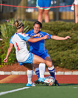 Boston Breakers midfielder Mary Frances-Monroe (27) forces Chicago Red Stars defender/midfielder Lauren Alkek (6) off the ball.  The Boston Breakers beat the Chicago Red Stars 1-0 at Dilboy Stadium.
