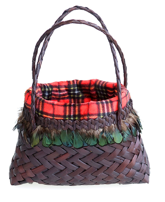 Maori Kete made with a Scottish tartan lining by Raglan artist Rob Kerr.
