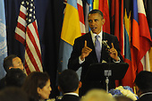 United States President Barack Obama makes remarks as he offers a toast before lunch with United Nations Secretary General Ban Ki-Moon at UN Headquarters in New York, New York on Wednesday, September 21, 2011..Credit: Aaron Showalter / Pool via CNP
