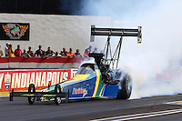 Aug. 31, 2013; Clermont, IN, USA: NHRA top fuel dragster driver Sidnei Frigo during qualifying for the US Nationals at Lucas Oil Raceway. Mandatory Credit: Mark J. Rebilas-