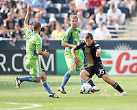 Alejandro Moreno #15 of the Philadelphia Union cuts past Peter Vagenas #8 of the Seattle Sounders FC during the first MLS match at PPL stadium in Chester, PA. on June 27 2010. Union won 3-1.