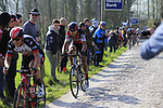 Greg Van Avermaet (BEL) BMC Racing Team summits the Taaienberg 18% cobbled climb during the 60th edition of the Record Bank E3 Harelbeke 2017, Flanders, Belgium. 24th March 2017.<br /> Picture: Eoin Clarke | Cyclefile<br /> <br /> <br /> All photos usage must carry mandatory copyright credit (&copy; Cyclefile | Eoin Clarke)