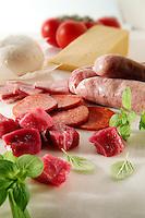 Beef Chunks, Salami, raw sausages & ham plus buffalo mozerella & Cheddar on marble
