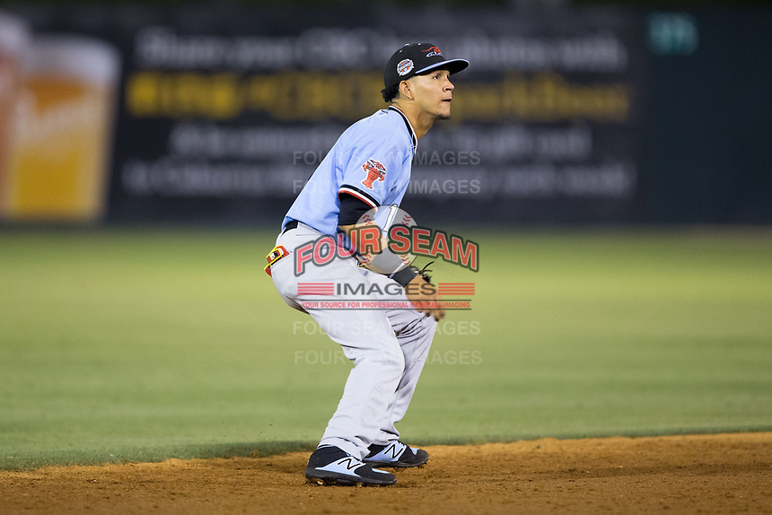 Hickory Crawdads shortstop Anderson Tejeda (1) on defense against the Kannapolis Intimidators at Kannapolis Intimidators Stadium on May 18, 2017 in Kannapolis, North Carolina.  The Crawdads defeated the Intimidators 6-4.  (Brian Westerholt/Four Seam Images)