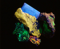 MINERAL FLUORESCENCE<br /> Photoluminescence<br /> Full spectrum UV light<br /> Fluorescent colors: Calcite &amp; Willemite/green, Wernerite/yellow, Aragonite/blue-red-pink-yellow, Optical Calcite/blue.