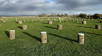Concrete markers replacing six concentric rings of timber posts, Woodhenge, Neolithic monument, circa 2300 BC, Wiltshire, England. Part of the Stonehenge World Heritage Site. Picture by Manuel Cohen