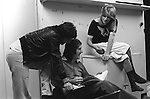 "Paul and Linda McCartney Wings Tour  1975. Paul, Linda and Denny Laine enjoying a joke rehearsal dressing room Elstree, London, England. The photographs from this set were taken in 1975. I was on tour with them for a children's ""Fact Book"". This book was called, The Facts about a Pop Group Featuring Wings. Introduced by Paul McCartney, published by G.Whizzard. They had recently recorded albums, Wildlife, Red Rose Speedway, Band on the Run and Venus and Mars. I believe it was the English leg of Wings Over the World tour. But as I recall they were promoting,  Band on the Run and Venus and Mars in particular."