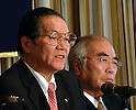 January 25, 2012, Tokyo, Japan - Katsuyuki Haranaka, left, and Akira Banzai, heads of Japan's two major organizations opposing the Trans-Pacific Partnership trade agreement, voice their concerns during a news conference at Tokyo's Foreign Correspondents Club of Japan on Wednesday, January 25, 2012. Haranaka represents the Japan Medical Association and Banzai Central Union of Agricultural Cooperative, the nations largest farm lobby. (Photo by Natsuki Sakai/AFLO) AYF -mis-
