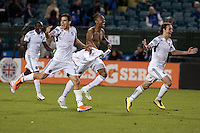 Chicago Fire celebrate after their win. The Chicago Fire defeated the San Jose Earthquakes after going 5-4 on penalty kicks, after a 2-2 score in regulation during the US Open Cup at Buck Shaw Stadium in Santa Clara, California on May 24th, 2011.