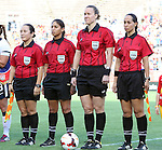 10 November 2013: Match Officials. From left: Assistant Referee Marlene Duffy, Fourth Official Christina Unkel, Referee Margaret Domka, Assistant Referee Veronica Perez. The United States Women's National Team played the Brazil Women's National Team at the Citrus Bowl in Orlando, Florida in an international friendly soccer match.