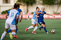Seattle, WA - Sunday, May 21, 2017: Camila Martins Pereira and Megan Rapinoe during a regular season National Women's Soccer League (NWSL) match between the Seattle Reign FC and the Orlando Pride at Memorial Stadium.