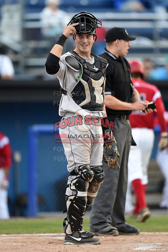 Jamestown Jammers catcher Kevin Krause (46) looks to the dugout during a game against the Batavia Muckdogs on July 7, 2014 at Dwyer Stadium in Batavia, New York.  Batavia defeated Jamestown 9-2.  (Mike Janes/Four Seam Images)