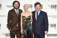 LONDON, UK. October 8, 2016: Casey Affleck, Michelle Williams &amp; director Kenneth Lonergan at the London Film Festival premiere for &quot;Manchester by the Sea&quot; at the Odeon Leicester Square, London.<br /> Picture: Steve Vas/Featureflash/SilverHub 0208 004 5359/ 07711 972644 Editors@silverhubmedia.com