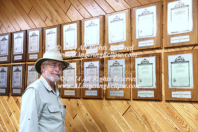 Robert W. Hoopes, Ph.D. stands in front of his Wall of Potato Variety Patents at the Frito-Lay Research facility in Rhinelander WI where he has worked since 1987 developing through a hybridization breeding program superior potatoes which are gorwn all over the world for Pepsi potato chips.  He holds more potato patents and plant variety protection than anyone in the world.  He received his Ph.D. in Plant Breeding and Plant Pathology from Cornell University and during his career has conducted potato germplasm expeditions during which he found 3 new species, one of which was named after him by the taxonomist, Jack Hawkes of Birmingham UK.  It has a deeply pigmented blue / purple flower and is named, Solanum Hoopesii and is archived at the USDA plant repository along with his 300+ expedition accessions in Sturgeon Bay, WI.