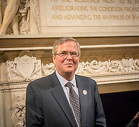 Fmr. Florida Gov. Jeb Bush of the National Constitution Center at the New York Public Library announcement of an agreement to display their copy of the original Bill of Rights at the unveiling of the document at the main branch of the library in New York on Wednesday, May 22, 2013. The over 200 year old document is one of 14 copies made and distributed to the 13 former colonies and the federal government. This copy has not been displayed for decades and a state of the art box containing protective glass and argon gas to prevent deterioration is being constructed for it. The copy will be displayed by the National Constitution Center in Philadelphia from 2014 to 2017 and then traveling back to the NYPL where the library will continue to display it 60 percent of the time. (© Richard B. levine)