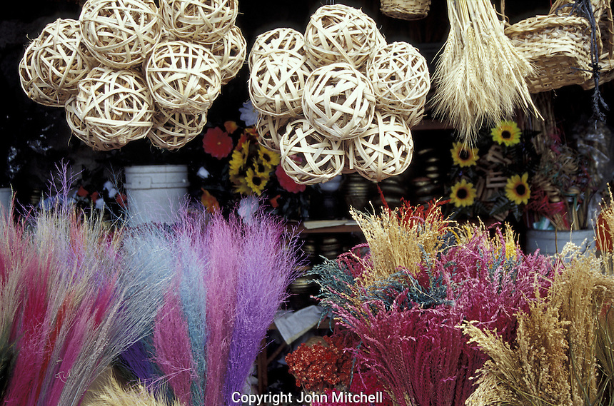 Dried flowers and straw goods in the Guamilito Market, San Pedro Sula, Honduras