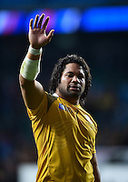 Tatafu Polota-Nau of Australia waves to the crowd after the match. Rugby World Cup Quarter Final between Australia and Scotland on October 18, 2015 at Twickenham Stadium in London, England. Photo by: Patrick Khachfe / Onside Images