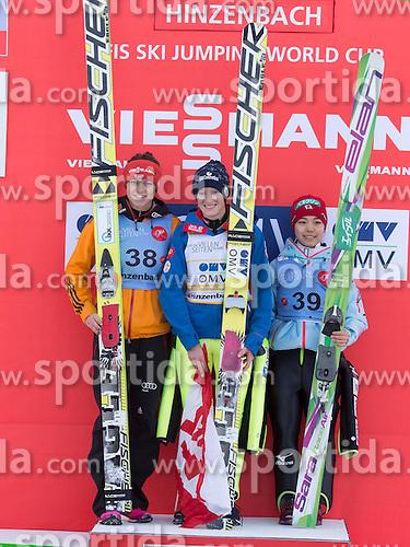 31.01.2015, Energie AG Skisprung Arena, Hinzenbach, AUT, FIS Weltcup Ski Sprung, Hinzenbach, Damen, Wettkampf im Bild das Siegerpodest v.l. Carina Vogt (GER), Daniela Iraschko-Stolz (AUT), Sara Takanashi (JPN) // during FIS Ski Jumping World Cup Ladies at the Energie AG Skisprung Arena, Hinzenbach, Austria on 2015/01/31. EXPA Pictures © 2015, PhotoCredit: EXPA/ Reinhard Eisenbauer