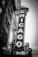 Chicago Theatre sign in black and white. The Chicago Theatre sign is a famous Chicago icon and popular attraction.