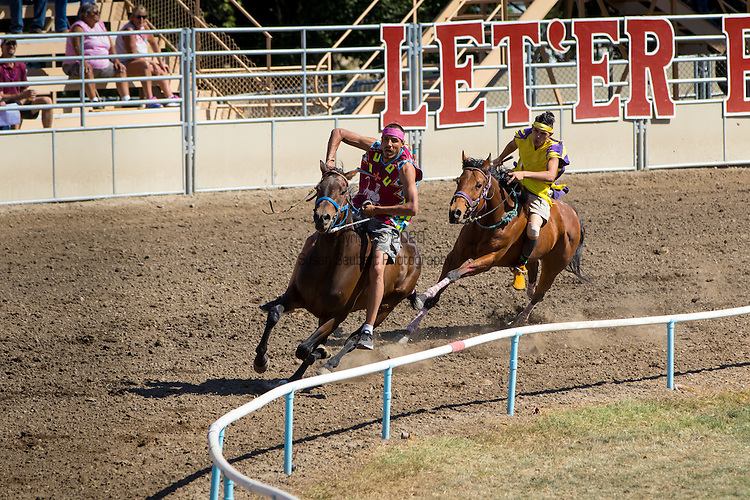 "The Native American or ""Indian"" Relay race at the Pendleton Round Up Rodeo, Pendleton OR, USA"