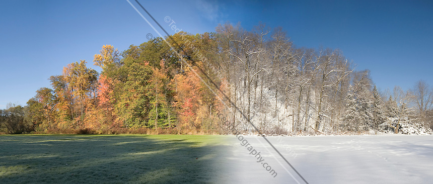 This picture is made from two pictures taken at different seasons.  The same scene can look quite different as the seasons change.