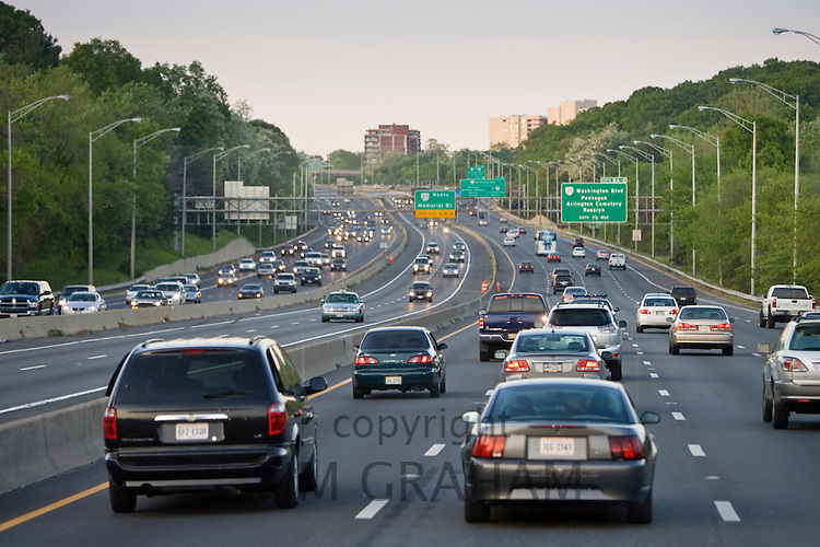 Volume of traffic travelling on freeway lanes, outskirts of Washington DC, USA