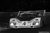 LE MANS, FRANCE:  The Joest Racing Porsche 936C JR005 of Bob Wollek, Jean-Michel Martin and Philippe Martin is driven during the 24 Hours of Le Mans on June 20, 1982, at Circuit de la Sarthe in Le Mans, France.