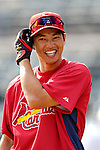 14 March 2007: St. Louis Cardinals outfielder So Taguchi waits to take batting practice prior to facing the Washington Nationals at Roger Dean Stadium in Jupiter, Florida...Mandatory Photo Credit: Ed Wolfstein Photo