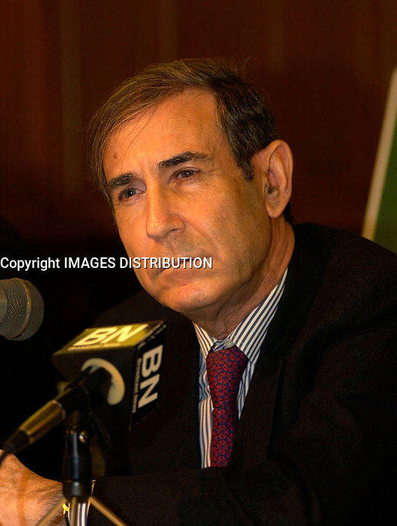 March 14th, 2002, Montreal, Quebec, Canada; <br /> <br /> Israel's Minister of Internal Security Shlomo Ben Ami, who is responsible for conditions in Israeli prisoners<br /> share is tought on the Palestinian-Israekina conflict during a press conference, March 14, 2002 in Montreal, Canada<br /> <br /> <br /> <br /> <br /> <br /> (Mandatory Credit: Photo by Sevy - Images Distribution (&copy;) Copyright 2002 by Sevy<br /> <br /> NOTE :  D-1 H original JPEG, saved as Adobe 1998 RGB