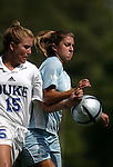 Sarah McCabe (15), of Duke, and San Diego's Joslyn Williams (5) challenge for the ball on Sunday September 18th, 2005 at Koskinen Stadium in Durham, North Carolina. The Duke University Blue Devils defeated the University of San Diego Toreros 5-0 during the Duke adidas Classic soccer tournament.