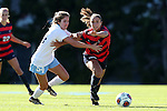 12 November 2016: Liberty's Sami Santos (right) and North Carolina's Sarah Ashley Firstenberg (54). The University of North Carolina Tar Heels played the Liberty University Flames at Fetzer Field in Chapel Hill, North Carolina in a 2016 NCAA Division I Women's Soccer Tournament First Round match. UNC won the game 3-0