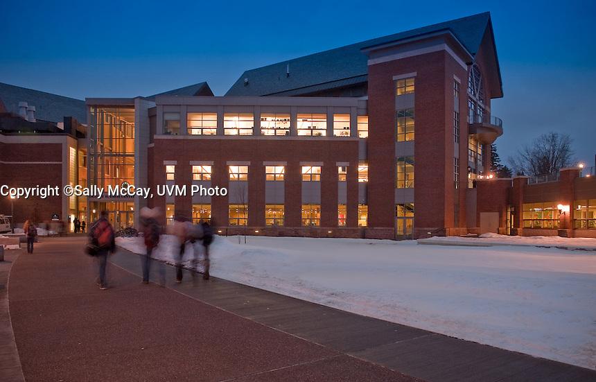 Students in front of the Davis Center, Winter UVM Campus The UVM Davis Center