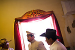 Narciso Martinez Alvarado, center, plays the role of Pancho Villa during a celebration in Columbus, New Mexico. Recently federal authorities arrested the mayor, police chief, and trustees who were allegedly operating an illegal gun running ring.