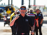 Oct 16, 2016; Ennis, TX, USA; Crew member for NHRA top fuel driver Steve Torrence during the Fall Nationals at Texas Motorplex. Mandatory Credit: Mark J. Rebilas-USA TODAY Sports