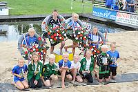 FIERLJEPPEN: IJLST: 06-08-2016, FK Fierleppen Jeugd, v.l.n.r. Kampioenen: Timo van der Knaap (IJlst) jongens tot 10 jaar met 9.26m, Lisse van der Knaap (IJlst) meisjes 10 en 12 jaar met 7.61m, Maureen Westerhof (Sneek) meisjes tot 10 jaar met 7.61m, Wisse Broekstra (Winsum) Jongens 11 en 12 jaar met 11.02m, ©foto Martin de Jong