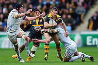 Jimmy Gopperth of Wasps takes on the Exeter Chiefs defence. European Rugby Champions Cup quarter final, between Wasps and Exeter Chiefs on April 9, 2016 at the Ricoh Arena in Coventry, England. Photo by: Patrick Khachfe / JMP