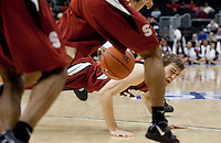 Andrew Zimmermann goes down on the play. The Stanford Cardinal, ranked 7th in the Pac-10 defeated the 2nd ranked Arizona State Sun Devils 70-61 during the Pac-10 Tournament at the Staples Center in Los Angeles, California on March 11th, 2010.