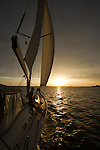 Sailboat sunset couple on Charleston Harbor South Carolina romantic