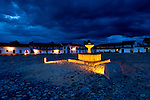 Colombia, Villa de Leyva, Plaza Mayor, Andes Mountain Town, Spanish Colonial, Declared A National Monument In 1954, Mudejar Fountain Provided Water To The Villages For Almost Four Centuries, Storm Clouds, Twlight, South America